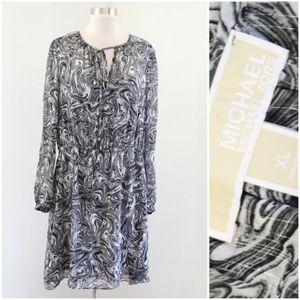 NWT Michael Kors Marble Tie Dye Metallic Dress
